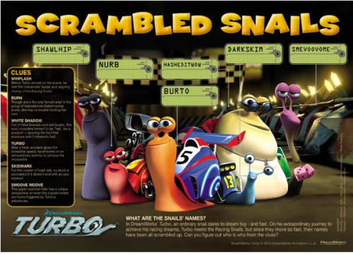 Turbo Scramble Snails Word Game