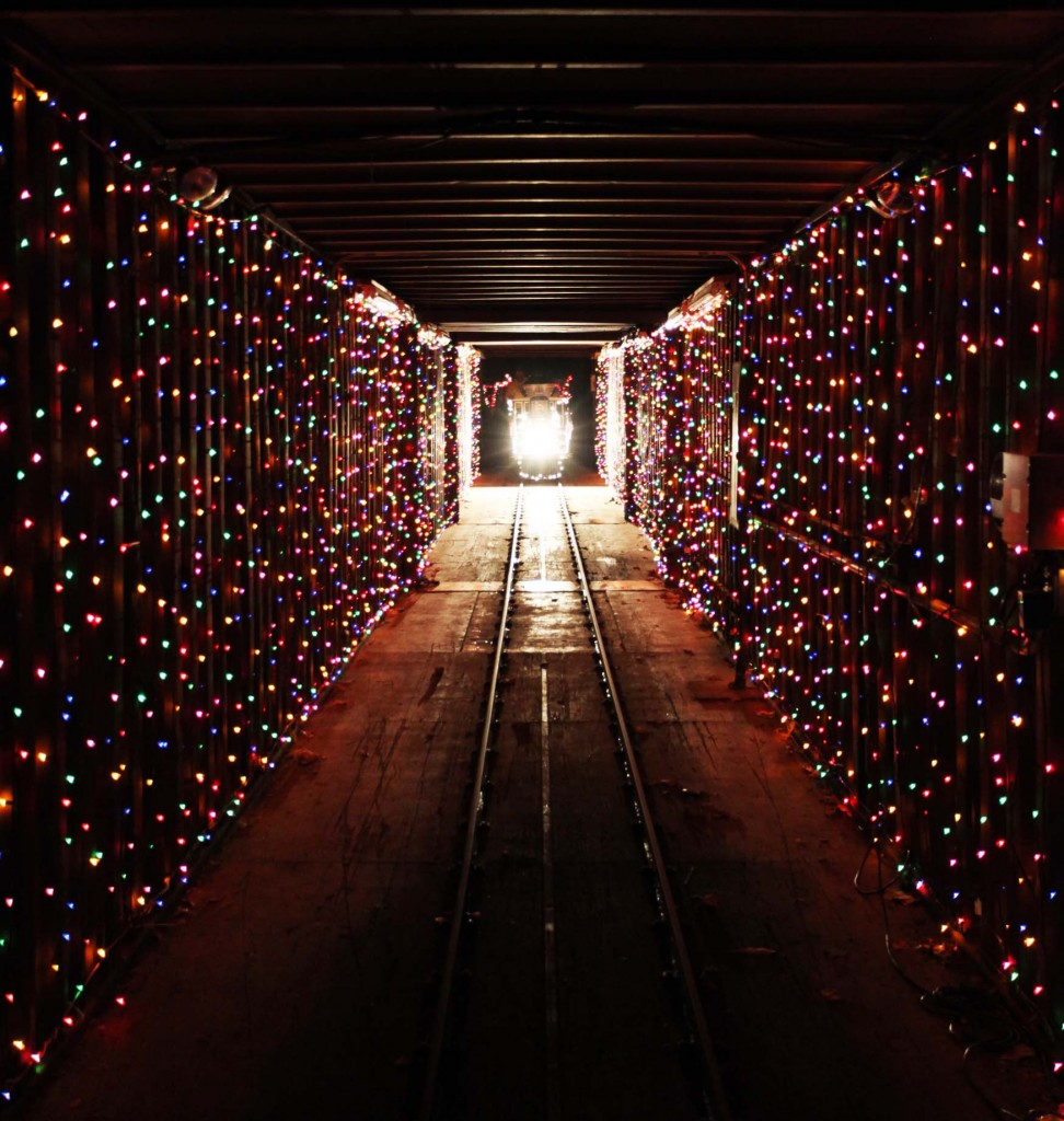 Christmas Train in the Tunnel of Lights