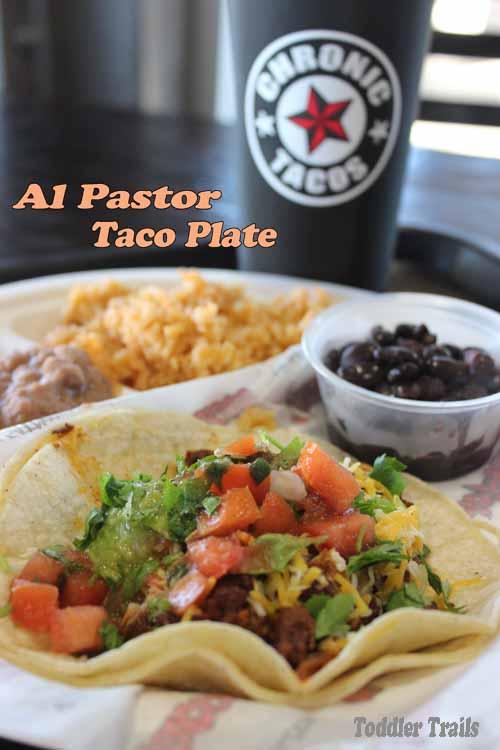 Chronic Tacos, Al Pastor Taco Plate, Downtown Fullerton, Family Night Tacos