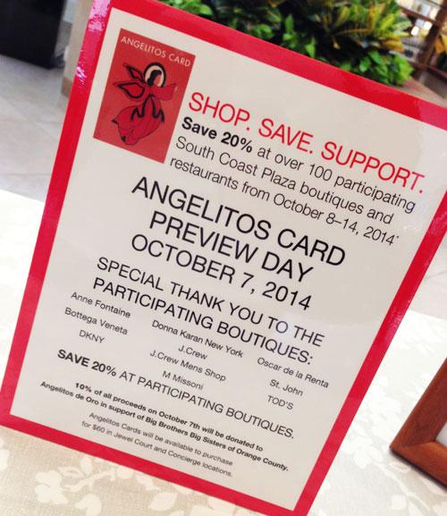 Angelitos de Oro Card, Discounts at South Coast Plaza