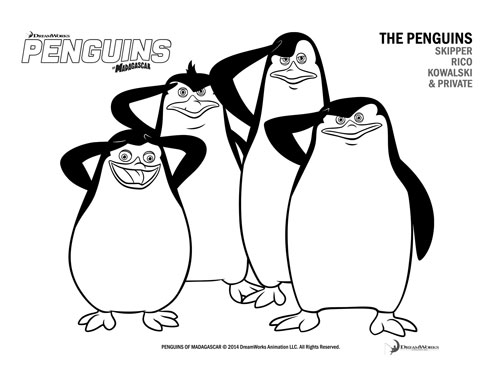 Free Coloring Page, Penguins of Madagascar