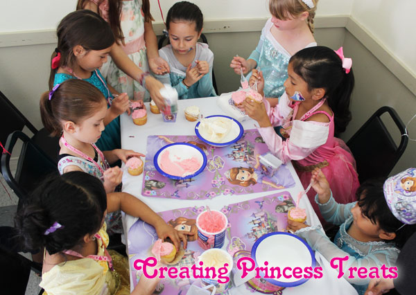 Disneyside Princess treats, decorating cupcakes