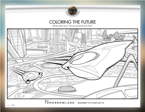 Walt Disney Pictures Tomorrowland Free Coloring Printable, Free Printable