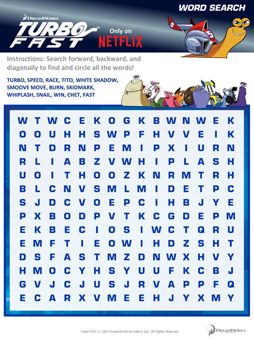 Turbo Fast Word Search, Turbo Fast, Free Printable