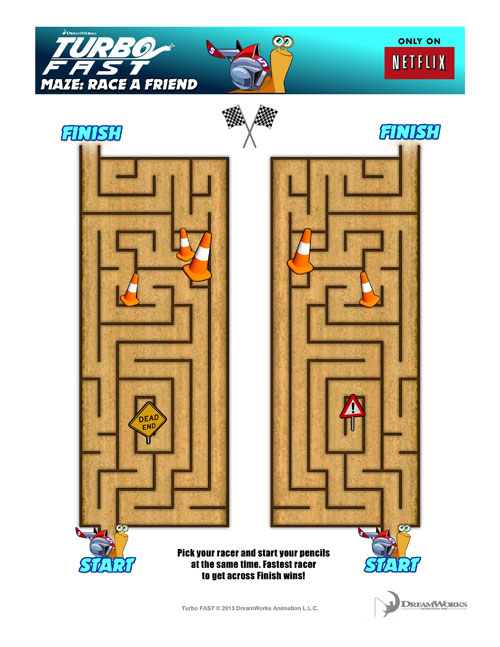 Turbo Fast, Turbo Fast Maze, Free Printable, Turbo Printable