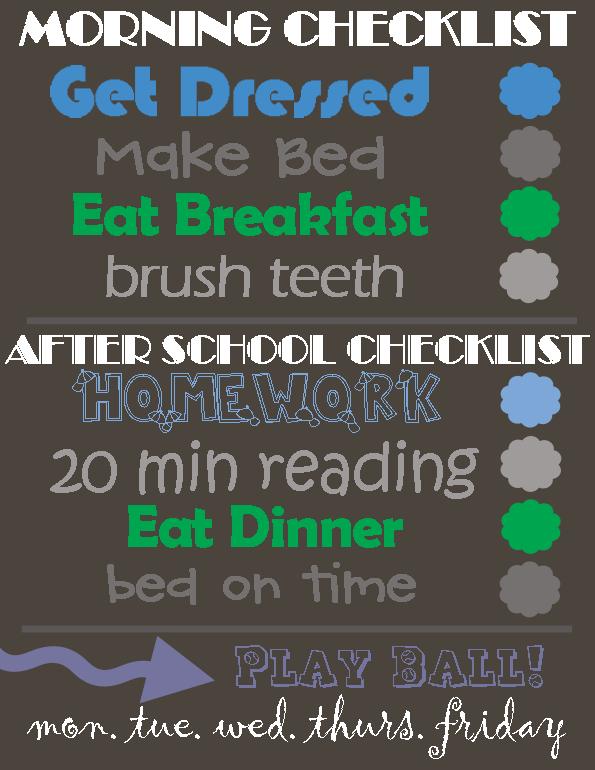 boys daily responsibility checklist