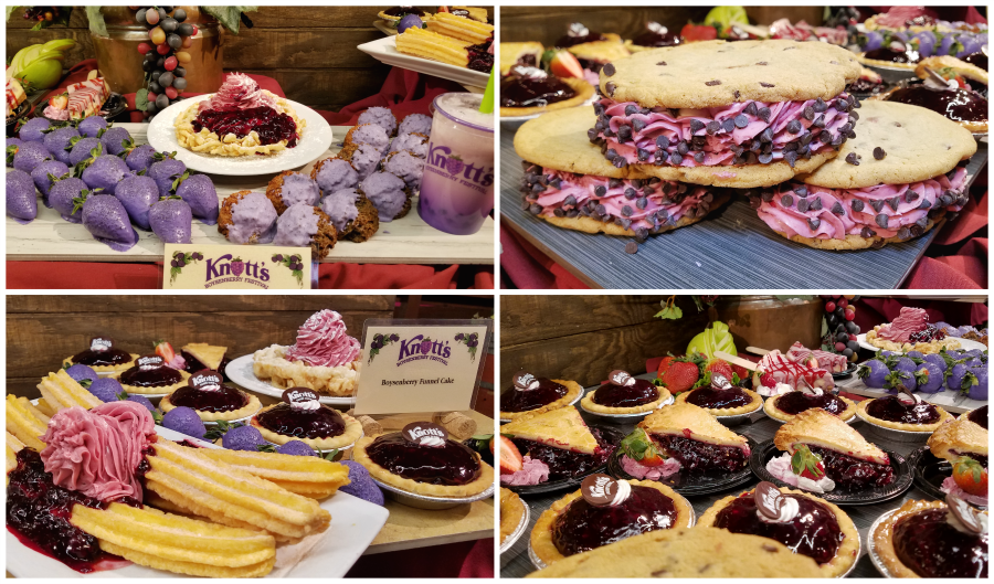 Boysenberry Desserts: Boysenberry Macaroons, Boysenberry Cookiewich, Boysenberry Pie, Chocolate Boysenberry Strawberries, Boysnberry Filled Churros