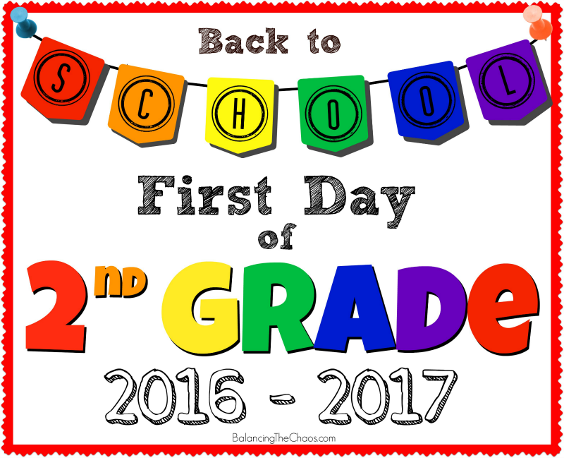 Back To School 2nd Grade Sign Free Printable