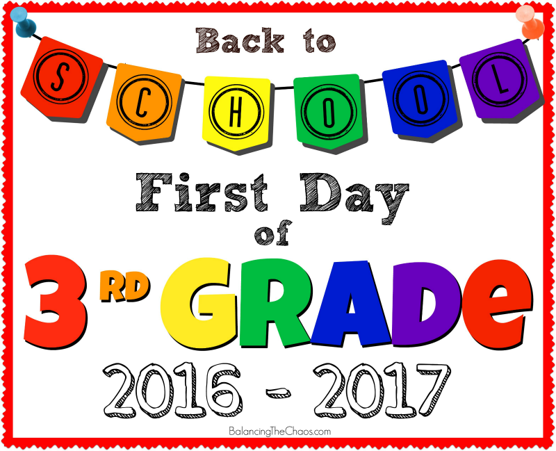 BACK TO SCHOOL 3RD GRADE PICTURE SIGN PRINTABLE