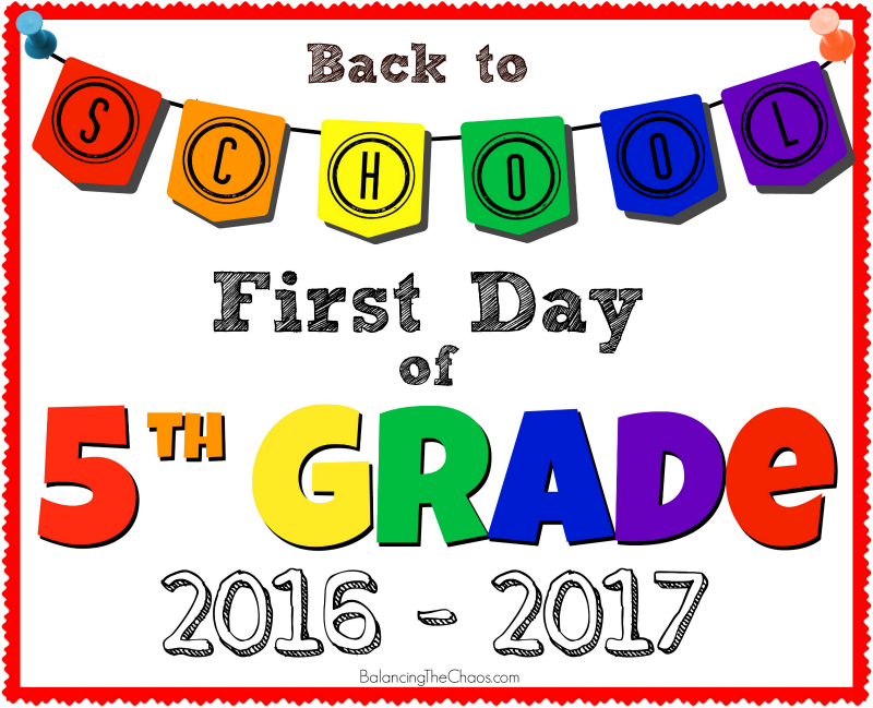 BACK TO SCHOOL 5TH GRADE PHOTO PRINTABLE