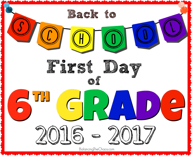 BACK TO SCHOOL 6TH GRADE SIGN PRINTABLE