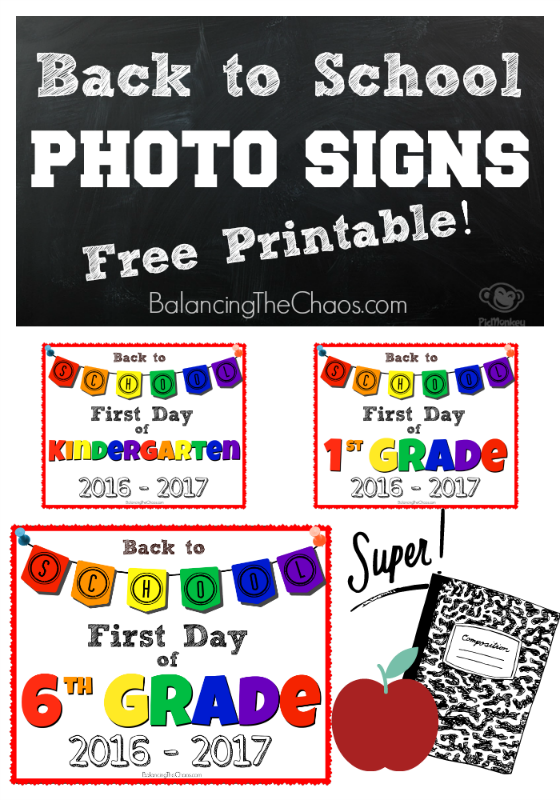 Pinterest Photo Signs Back To School Printable