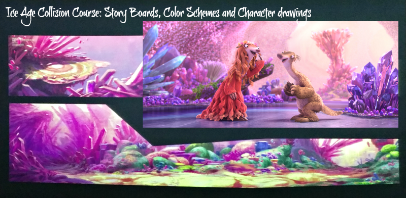 Ice Age Collision Course Story Boards, color schemes and character drawings