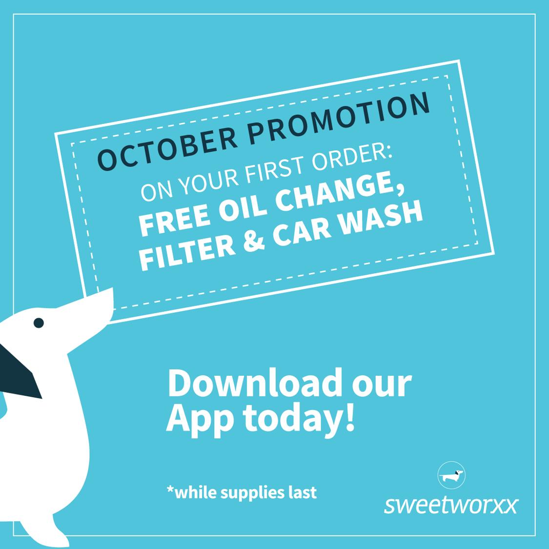 Sweetworxx October Promotion FREE Oil Change Filter and Car Wash