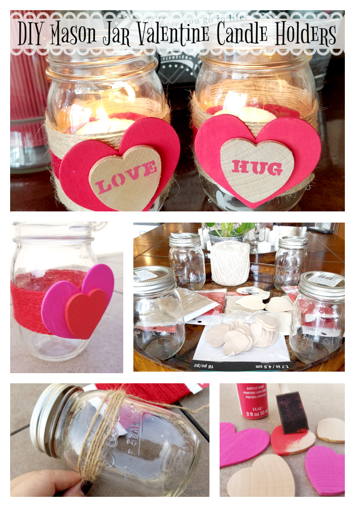 Mason Jar Valentine Candle Holders Pin