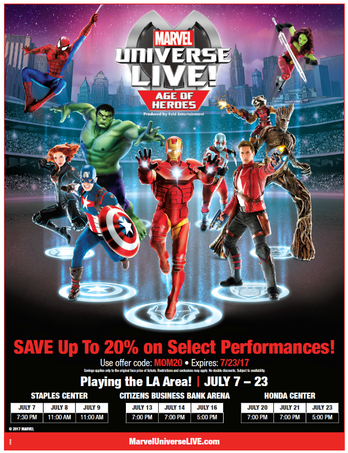 Mark your calendar for this July, when your favorite super heroes unite in an action adventure full of thrills and drama when Marvel Universe Live! Age of Heroes take over Southern California July 7 - 23rd. The iconic Marvel Super Heroes Spider-Man and The Avengers are joined by the Guardians of the Galaxy including Star-lord, Gamora, Groot, Rocket and Dax in a legendary battle to defend the universe.