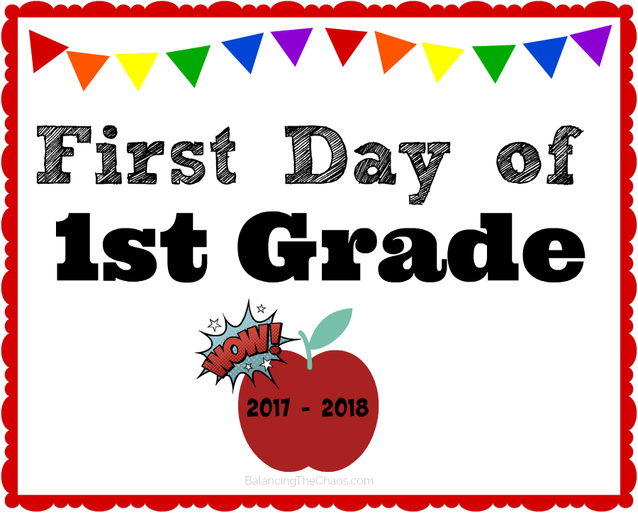 picture regarding First Day of 1st Grade Printable called No cost PRINTABLE: 2017 2018 Back again In direction of University Signs or symptoms #BTS
