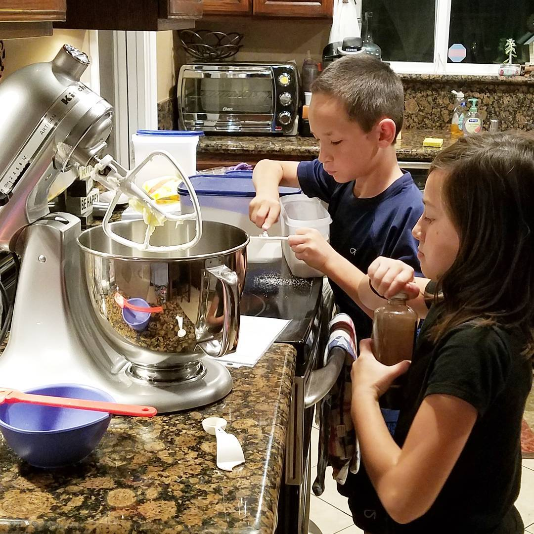 Kid helpers in the kitchen