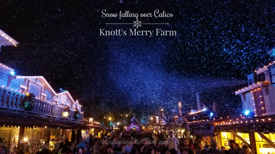 Snow falling over Calico at Knotts Merry Farm