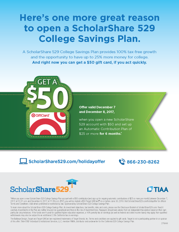 ScholarShare 529 Holiday Flyer