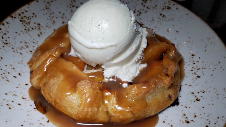 Lazy Dog Desserts Peach Pie with Raspberry Compote and Vanilla Ice Cream