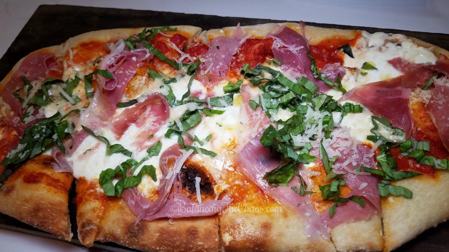Prosciutto and burrata pizza