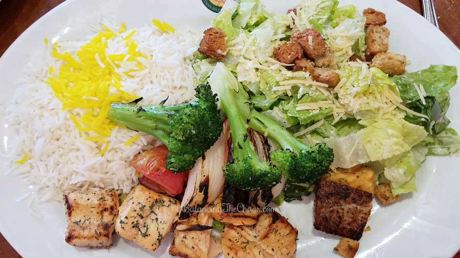 Fresh Salmon Kabob at Panini Kabob Grill in Mission Viejo