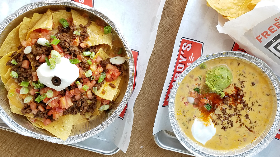 Tahoe Nacho and Loaded Queso Jimboys Tacos