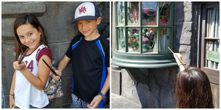 Casting spells at the Wizarding World of Harry Potter