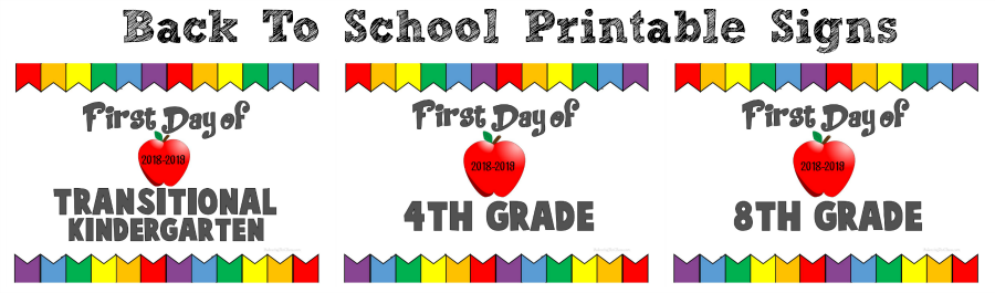 2018 2019 Back To School FREE Printable Signs