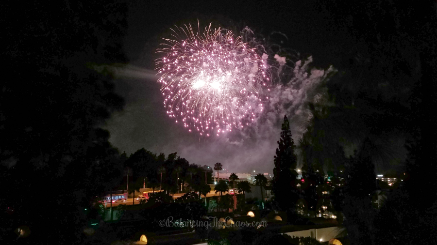 Disneyland Fireworks from the Howard Johnson Anaheim Hotel and Water Playground
