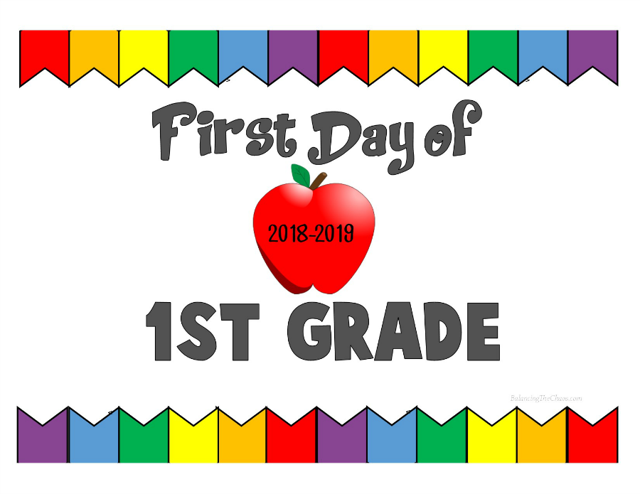 picture relating to First Day of 1st Grade Printable titled Free of charge PRINTABLE: 2018 2019 Back again In direction of College or university Symptoms - Balancing