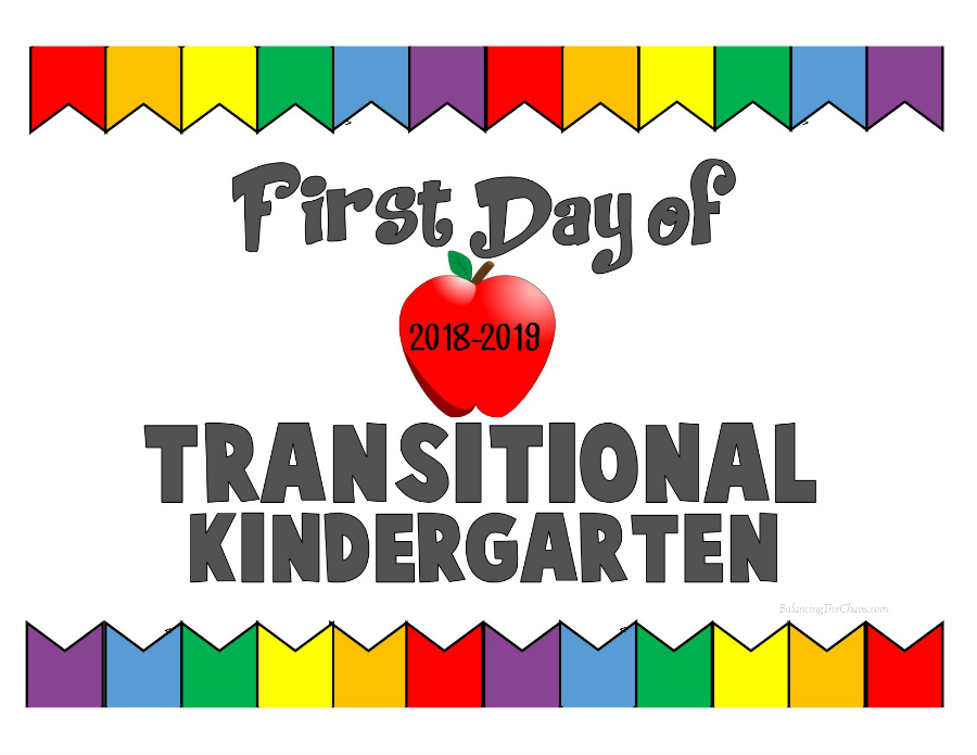First Day of Transitional Kindergarten 2018 2019