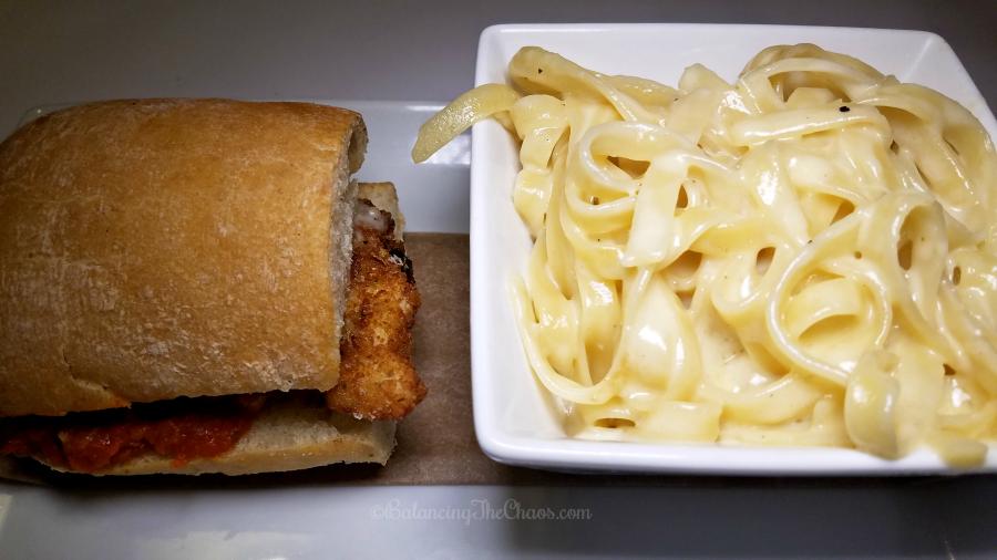 Macaroni Grill Mix + Match Fettuchini Alfredo and Chicken Parm Sandwich