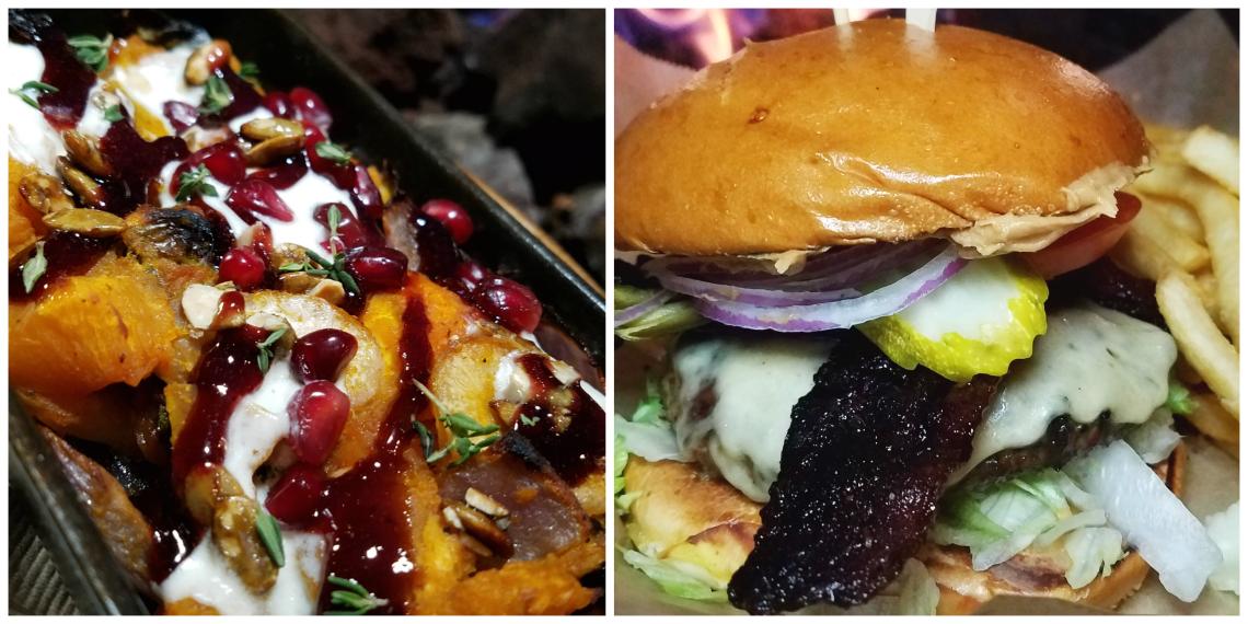 Roasted Winter Veggies and PB J Burger at Lazy Dog