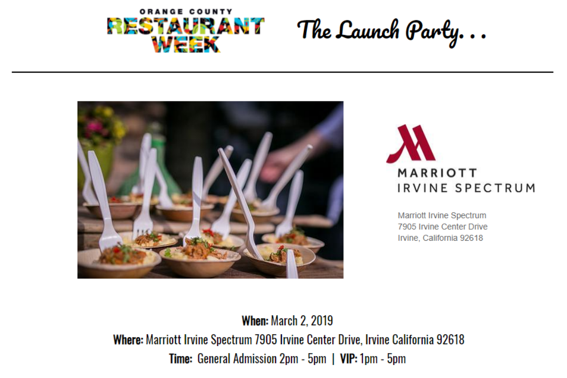 Tickets available to the OC Restaurant Week Launch Party