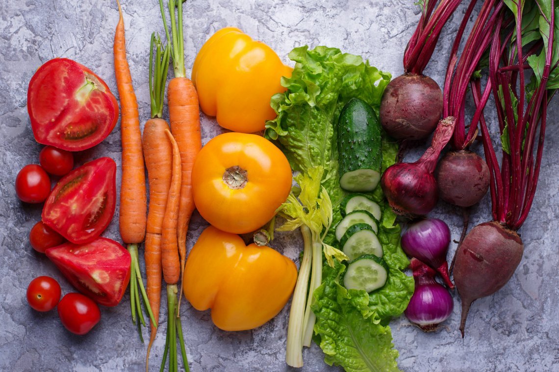 Vegetable Groups Kaiser Permanente Shutterstock id: 680595781 By Yulia Furman https://www.shutterstock.com/image-photo/rainbow-colored-vegetables-healthy-food-concept-680595781