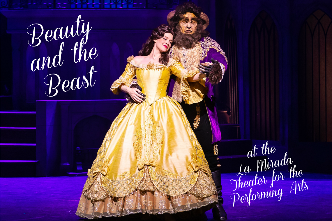 "Laurie Veldheer stars as ""Belle"" and Todd Adamson stars as ""The Beast"" in the La MIrada Theatre for the Performing Arts/McCoy Rigby Entertainment production of Disney's ""BEAUTY AND THE BEAST,"" directed by Michael Heitzman and now playing at La Mirada Theatre for the Performing Arts."