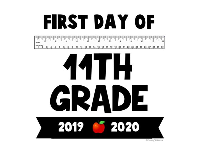 First day of 11th grade back to school sign  free printable