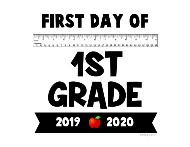 graphic relating to First Day of 1st Grade Printable identified as No cost PRINTABLE: 2019 - 2020 Initially Working day of College or university Signs and symptoms
