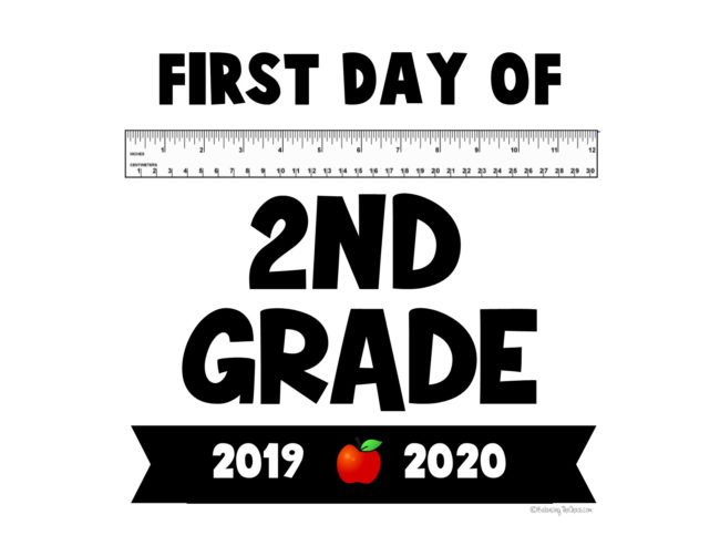 First Day of 2nd Grade Free Printable Back to school Sign