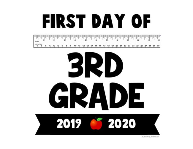 Back to school sign first day of 3rd grade Free printable