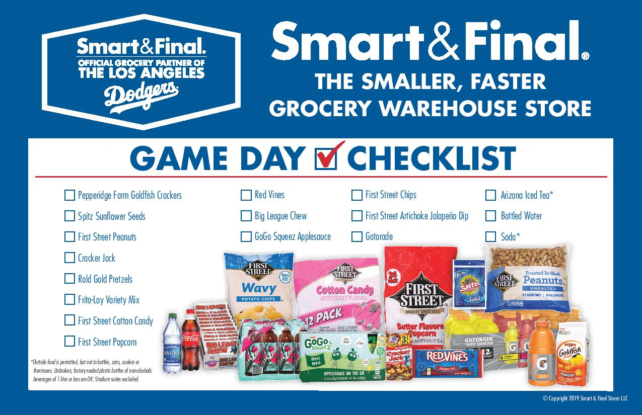 Smart and Final Game Day Check List