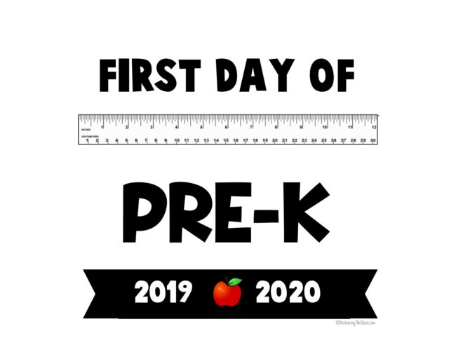 photo relating to First Day of Pre K Sign Printable called Totally free PRINTABLE: 2019 - 2020 Initially Working day of Faculty Signs or symptoms
