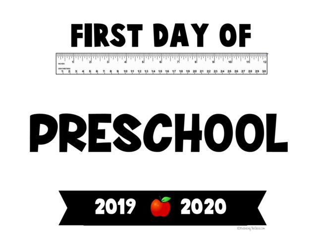First day of preschool back to school printable first day signs