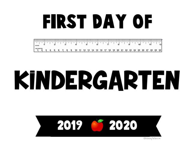 First day of Kindergarten Free Printable