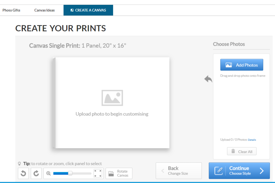 Creating a single canvas print online with Canvas Factory