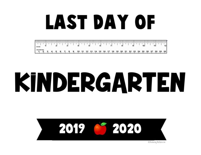 2020 last day of school kindergarten free printable