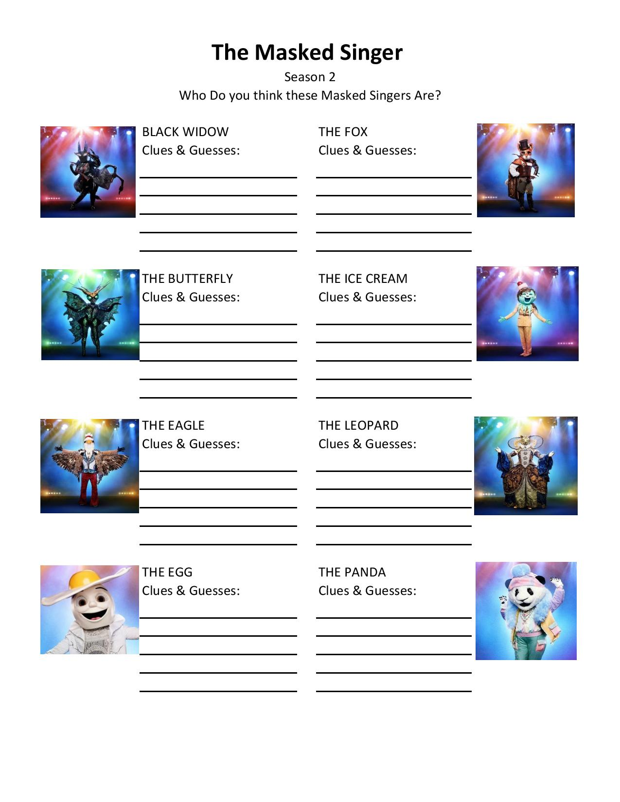 The Masked Singer FREE Printable Note Sheet