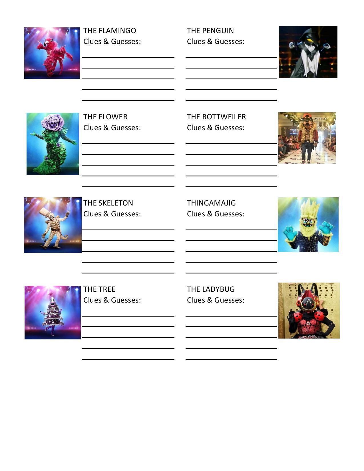 The Masked Singer FREE Printable Guessing Sheet